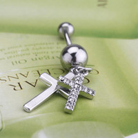 Wholesale 2014 Fashion Popular L Surgical Steel Bar Piercing Jewelry Gift Double Cross Rhinestone Dangle Belly Button Navel Ring H11618