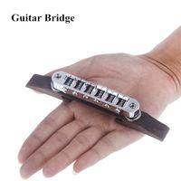 adjustable guitar bridge - Metal Rosewood Guitar Bridge Roller Saddle Adjustable Easy installation Chrome Guitar Parts I397