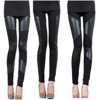 Polyester Mid Fashion Autumn and Winter Sexy Slim Stitching PU Leather Leggings Tights for Women,Splicing splice Wide Stretchy Elastic Waist Trousers Pants G0653