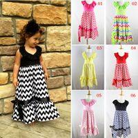 chevron dress - 6 Style Girls Cotton Full length Dress Summer Chevron Stripes Bowknot Princess Long Dresses Girl Children Clothing Rose Red Black K1194