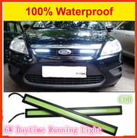Wholesale 6w COB Daytime running Lamp Back Reverse Parking light Ultra thin LED Car lights DRL Grill Auxiliary Fog lights Car