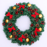 Wholesale Decorations For Trees Christmas Wreath Door Hanging Trim Hotel Handmade For New Year Outdoor Decoration Supplies cm In Diameter