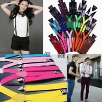Wholesale Y Shape Women Men Suspenders Clip on Adjustable Braces Elastic Candy Color Fancy Dress DCE