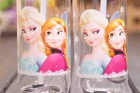 Wholesale 2014 Christmas Gift Frozen Elsa Anna Water Bottle Children Cup CartoonPP Texture Suction Cup with Drinking Straw Sport Bottles new