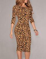 leopard print dress - HOT SALE Leopard Print Party Formal Dress Women Long Sleeve Low V Back Midi Dress Evening Club Clothes B4981