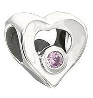 Wholesale Sterling Silver Heart charm with Pink stone Pandora Beads Compatible with Snake chain Bracelets Jewelry