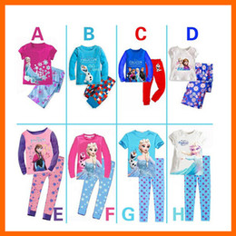 Wholesale New arrival Children s Frozen Elsa Anna Pajamas Set girls boys clothing sets printing Princess sleepwear kids pyjamas clothes set
