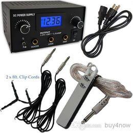 Wholesale Promotion LCD Digital DUAL machine TATTOO POWER SUPPLY Foot Pedal Switch XClip Cords tattoo machine gun