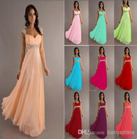 Wholesale 2015 New Cheap A Line Empire Chiffon Bridesmaid Dresses Cap Sleeves Sweetheart Long Backless Coral Peach Hot Prom Evening Gowns DJ8671
