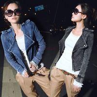 denim jackets women - Punk Fashion Women Denim Jackets Women s Coat Long Sleeve Zipper Up Jeans Coat All SeasonsWater Washed Cowboy Motorcycle Jacket