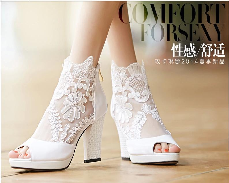 high quality 2015 new arrival white lace bridal shoes 9 cm