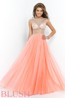 Cheap Blush 9911 Prom Dresses Beaded Nude Illusion Bodice Bateau Neckline Sheer Bodice Chiffon Coral Pink Sand Formal Party Evening Gowns 2015