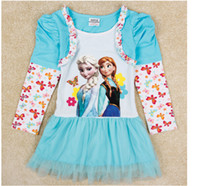 children party dresses - Autumn Children Girls Tutu Princess Dresses Long Sleeve Floral High Quality Frozen Elsa Anna Party Dresses Flower Dresses Blue