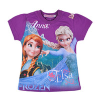 Wholesale 2014 popular frozen t shirts for girls cotton shirts cartoon children girls t shirt tops t shirt printing in stock freeshipping