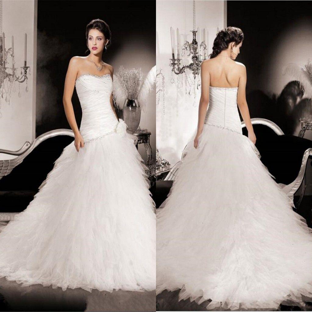 2014 New White Sweetheart Backless Trumpet Wedding Dresses