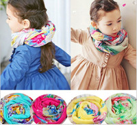 Wholesale kids children s Girls floral scarf wraps teenagers women s girl s floral scarves