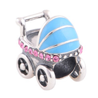 Wholesale Austrian Crystal Jewelry Crystal Beads Silver Baby Carrier Charm fit European Bracelets No YZ327
