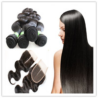 Wholesale 6A Brazilian Malaysian Indian Peruvian Virgin Hair Weave Hair Weft With pc Free Lace Closure Body Wave Virgin Human Hair Extension