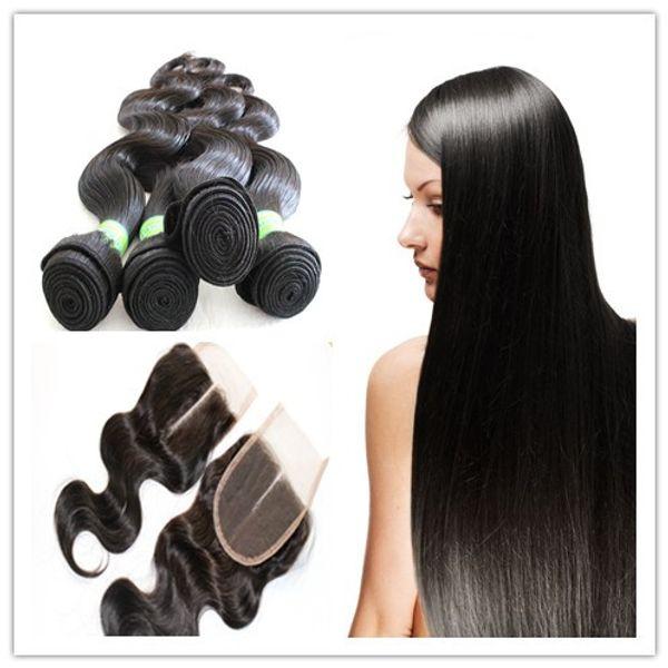 6a brasiliano malese peruviane Vergine tessuto indiano dei capelli trama dei capelli 3PZ con estensione di capelli umani vergini 1pc libero pizzo chiusura corpo Wave