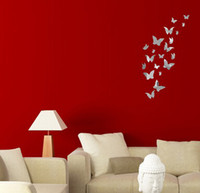 Cheap Wholesale-Free shipping 20 butterfly combination of 3D mirror surface wall sticker household decorates sitting room crystal sticker