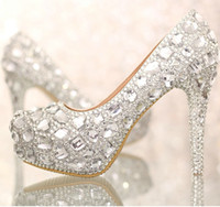 Cheap 2015 Luxury Crystals Silver Wedding Shoes High Heel Bridal Shoe with Platform Anniversary Party Nightclub Prom Shoes Bridesmaid Shoes