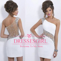 dress one size - 2015 New Sparkly Crystal Blush Homecoming Cocktail Dresses One Shoulder Beaded Sheer Illusion Short Mini Sheath See Through Back BO6368