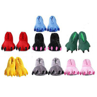 Cheap Wholesale-New Hot Sale Family Adult Unisex Cartoon Animal Pajama Slippers Shoes Warm Indoor Cosplay Paws Claw Home Flat Shoe