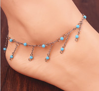 Wholesale 2014 Fashion Blue Tassel Anklet Chain Barefoot Sandals Foot Jewelry