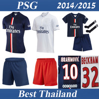 soccer uniforms - Whosales PSG Football Jerseys Paris Saint Germain Soccer Jersey Soccer Uniforms Kits Discount Ibrahimovic TOP Thai Quality