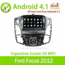 Wholesale 8 Inch Pure Android system for ford Focus car dvd capacitive touch with G WIFI car DVD GPS RDS Radio BT USB Support SWC