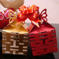 Wholesale 100Pcs Chinese new year candy box Wedding favors gift box sweet boxes Sunshine Gold