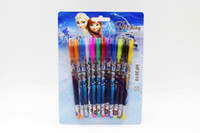 Wholesale Colorful Christmas Frozen Princess Elsa Anna Gel Pen Shining Glitter Ballpoint Writing Stationery Set Pens with retail package children gift