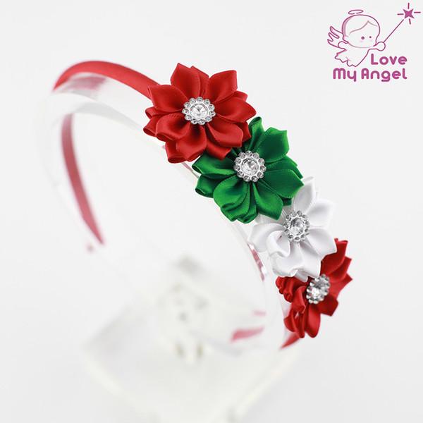 Regalo de la Navidad del hairband de la flor de la cinta del satén de las