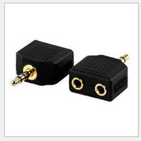 Wholesale mm Male Stereo Jack to x Female Splitter Headphone Audio Y Adapter Plug for apple s Samsung Galaxy S2 S3 i9300