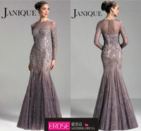 Wholesale Elegant Long Mermaid Floor Length Beaded Lace Crew Long Sleeve Mother of the Bride Dress Formal Evening Dress Prom Gown