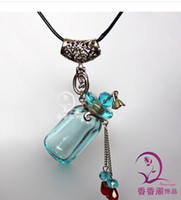 Wholesale Perfume Bottle Pendant Lampwork Glass Perfume Pendants Aromatherapy Necklace