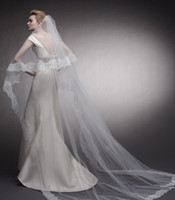 Wonderfully One- Layer Cathedral 3m Lace Edge for Long Bridal...