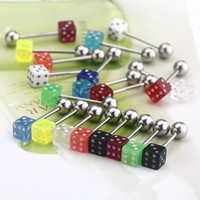 Cheap 20pcs set Colorful Stainless Steel Dice Barbell Tongue Rings Bars Piercing H11558