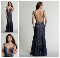 Cheap WOW!!! 2014 Sexy Prom Dress Plunging V Neck Sheer Back Cap Sleeve Sheath Floor Length Crystal Beaded Full Lace Party Evening Dress Gown