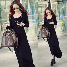 Wholesale Women s Winter Autumn Knitted Long Sleeve Maxi Dress Clothes Sweater Dress DH