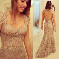 Cheap 2014 Sexy Beaded Lace Evening Dresses Scoop Neck Cap Sleeve Backless Beading Belt Mermaid Court Train Party Dress Prom Gowns