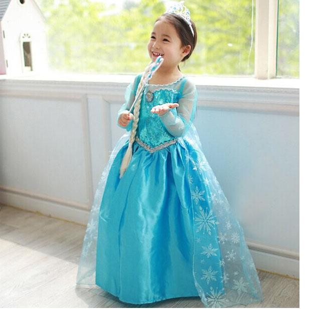Frozen Princess Dresses Blue Long Maxi Dress Skirts Kids Cosplay ...
