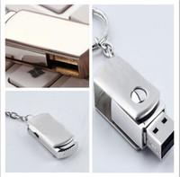 Wholesale 128GB GB GB Swivel Memory Metal Swivel KeyRing Memory Stick Flash Drive Storage USB Silver Metal Swivel KeyRing