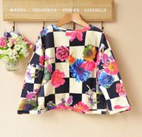 big star - Autumn Star Girls Long Sleeve T Shirts Cotton Plaid Big Flower Print Pullover Tops Girl Outwear Kids Children Cloth Black cm K1204