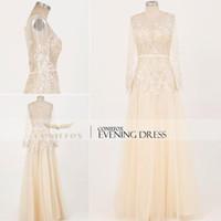 Wholesale 2014 Real Photo Nude Prom Gown Sheer Tulle Bateau Neck Long Illusion Sleeves Back Zipper Full Length Retro Evening Gown