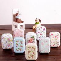 tin box - New vintage small flowers series quality iron case storage case tin box