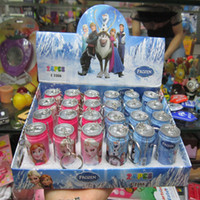 Wholesale NEW Frozen Student princess Cartoon Elsa Anna Cans ballpoint Cola Pens Lovely Cans Ball Pen children Gift with retail package