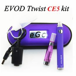 Promotion starter kit torsion ego zipper Cigarette électronique EGO Starter Kit Satisfait EVOD Twist Batterie et CE5 Atomizer Double Piles avec Zipper Case Chargeur USB E-Cig Sets