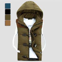 Wholesale Brand New Men winter down cotton vest england style horn button waistcoat casual zipper hooded sleeveless jacket WM0010 salebags