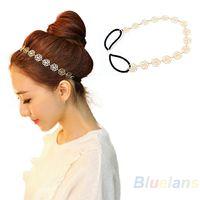 Wholesale Fashion New Lovely Metallic Lady Hollow Rose Flower Elastic Hair Head Band Headband Headwear Accessories Women Garland Q